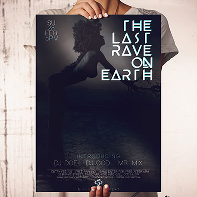 Print ready poster for rave party